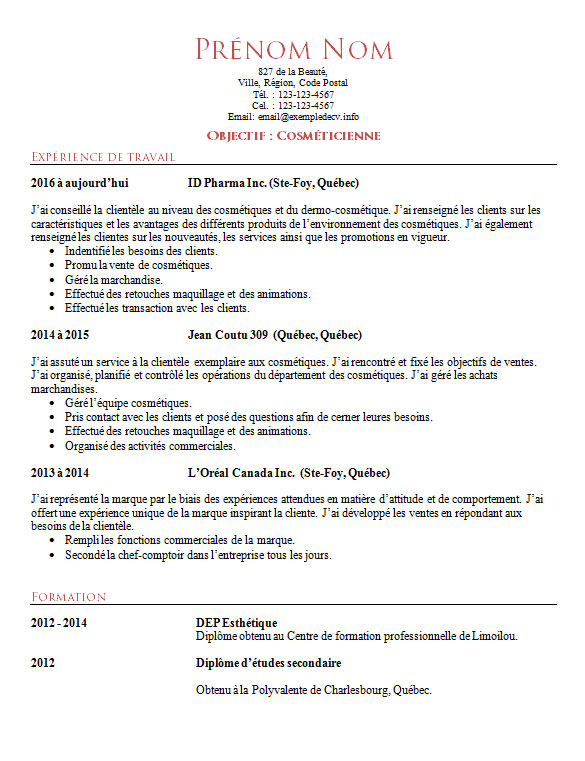 modele cv simple mecanicien